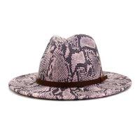جديد وصول الخريف أزياء الشتاء النساء الرجال شقة جلد الثعبان نمط واسعة بريم فيدورا قبعات صوف فيلت الأعلى الجاز قبعة