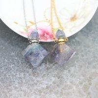 Charms Natural Fluorite Gems Prismática Perfume Botella Oro / Silver Cadenas Colgantes Joyería Bulk, Facetada Cuarzo Collar Collar