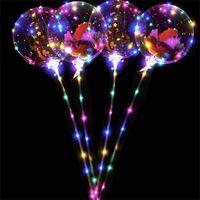 18 pouces PVC Ballon transparent de Bobo transparent avec autocollants Ballon de bande dessinée Glitters Plumes Lumineux Ballon Halloween Kits Halloween