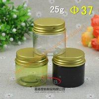 25 Kişisel Bakım Numune Container Packaging altın Alüminyum kap Kozmetik ile birlikte / yeşil renk açık kahverengi / PET Kavanoz, 25 ml Plastik Jar gram
