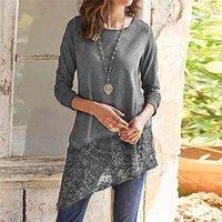 Рубашки Casual Женская одежда Женская Дизайнерская Длинные рукава Tshirts Scoop Neck Pure Color Одежда Мода Кружева Щитовые