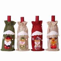 Weihnachten Sankt-Schneemann Elk Leinentasche Weinflasche Abdeckung Weihnachten Neujahr Weihnachten Home Dekorationen Ornament Party Supplies