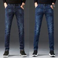 Männer Jeans 2021 Denim Hosen Slim Gerade Dunkelblau Normale Passform Freizeit Lange Hosen Jean Men Hombre