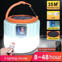 Solar LED Camping Light, 280W Remote Control USB Rechargeable Bulb for Outdoor Tent Lamp Portable Lanterns Emergency Lights for BBQ Hiking