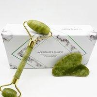 Hot selling 100% Natural Dark Green Jade Roller and Guasha Board Natural Jade Stone Facial Massager Roller and Gua Sha Set wth Box