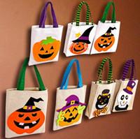 هالوين الحلوى buskets الطفل أطفال حقائب الحلوى تحمل الكرتون الكتان حقيبة البيض تخزين الأكياس مكتب سلال هدية أكياس