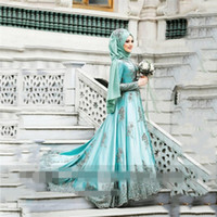 2020 Moroccan Kaftan Long Sleeves high neck Prom Dresses with Scarft Muslim Dubai Lace ruched Appliques Beaded Evening Gowns Abendkleider