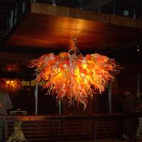 Lámpara colgante de cristal soplado a mano Lámpara de colgante de cristal LED Luz de araña de cristal Zhongshan Fabricante de luces Naranja Color de oro blanco 40 pulgadas de ancho-z