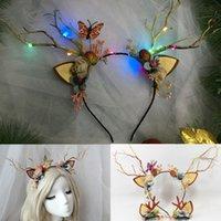 Dekoracje świąteczne 2021 LED REINDER ANDERS Pałąk Deer Ear Flower Iluminate Crown Hair Clip Party Hairband Wedding Jewelry Prezent