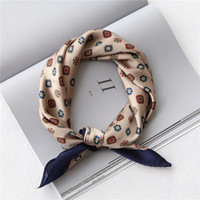 53-60CM imitado seda lenços quadrados para mulheres Retro impresso lenços de cabelo pequenas para senhoras lenço de cetim kerchief para senhoras T200910