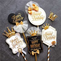 Parti Dekorasyon Pişirme için Kraliyet Kral Taç Siyah Beyaz Stil Doğdun Kek Topper Aşk Hediyeler Malzemeleri