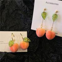 Commercio all'ingrosso coreano modo lascia Peach orecchini di goccia per la dichiarazione dei monili delle donne striscia rosa orecchino di pendente di nozze Orecchini