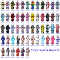 Neoprene Keychain Sports Printed Chapstick Holder Leopard Keychains Wrap Lipstick Holders Lip Cover Keyrings Party Favor Gift X628FZ
