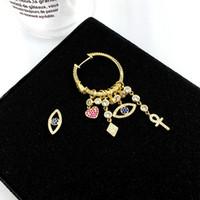 큰 디자인 S925 골드 바늘 악마의 눈 심장 모양 럭키 기호 귀걸이 큰 브랜드 숙녀 달콤한 귀걸이 여성 선물 200923
