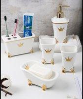 الأوروبية السيراميك الحمام خمسة حمام قطعة مجموعة ومرحاض إمدادات غسل عدة فرشاة أسنان حامل مجموعة منتجات جديدة