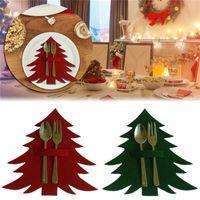 Patrón de la bolsa de almacenamiento cubertería árbol de navidad de regalo de la decoración de comedor Mesa de cuchillos y tenedores bolsillos de Navidad vajilla titular envío libre de DHL
