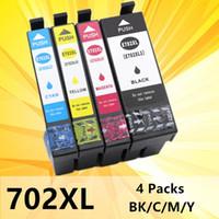 4 cartucho de tinta Pack para 702 XL T702 702XL para WorkForce Pro WF-3720 WF-3725 impresora de tinta llena con las virutas