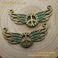 100pcs 37mm 18 3 * Couleurs de collection Paix métal ailes d'ange Connecteur pour connecteurs Charms Bijoux