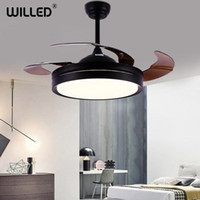 Elektrische Fans Decken mit Lichtern Unsichtbare Smart Remote Control 42inch Nordic Creative Fixe für Wohnzimmer LED Dimm-Fan-Lampe