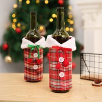 Nueva cubierta del vino con ropa de botellas cuadros arco de lino con pelusa 17 * 23cm de la botella de vino creativo Navidad de la cubierta manera de la decoración CYZ2766 200Pcs
