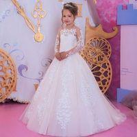 Bianco bambini Abiti formali Ragazze spettacolo Compleanno maniche lunghe pizzo applique partito Bambini abito ragazze di fiore abiti