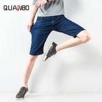 Męskie dżinsy Quanbo 2021 Przyjazd Lato Cienki Moda Denim Spodenki Mężczyźni Proste Casual Bawełna Krótka marka Odzież Plus Rozmiar 38 40