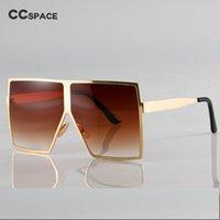 Óculos de Sol Bling Gold Square Superized para Mulheres Metal Frame Brown Shades Ccspace Vintage 2021 Marca Óculos Moda Oculo UV400