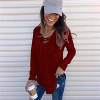 Designer Long Sleeve Sexy Blouse Fashion Womens Solid Tops Casual Female Clothes V Neck Women T Shirt Blouse
