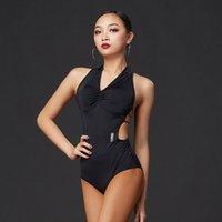 2020 New Latin Tanz Kostüme für Frauen Sexy Hanging Neck Design-Bodysuit Latin Dance Competition Kleid tragen DQS5249