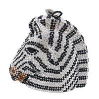Boutique De FGG Elegancka Zebra Horse Head Kobiety Mini Crystal Evench Torebtes and Torebki Wedding Party Minaudiere Torba sprzęgła