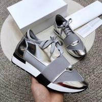 2019 Moda Lüks Sneaker Adam Kadın Rahat Ayakkabılar Hakiki Deri Örgü Sivri Burun Yarışı Runner Tasarımcı Ayakkabı Açık Havada Trainers Kutusu