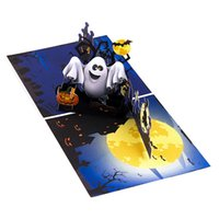 Tarjeta de Halloween Spooky Calabaza emergente Ghost Trick de impresión a color o de la invitación Tarjeta de felicitación con las invitaciones de sobres para el Festival