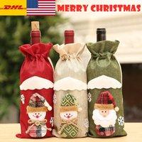 Botella de vino de Navidad de los EEUU Stock DHL Cubierta regalo del muñeco de nieve de Navidad Medias de bolsas de embalaje saco Presenta Navidad Chrismas del Año Nuevo 2020