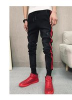 Sıska Elastik Bel Kalem Pantolon Genç Hiphop Sokak Jeans İlkbahar Sonbahar Tasarımcı Disterressed Jeans Erkekler