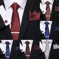 7,5 cm 100% soie hommes cravate clip Mouchoir Cuffink cravate Ensemble cravate bande rouge robe de bal Accessoires de fête Cadeau pour Homme