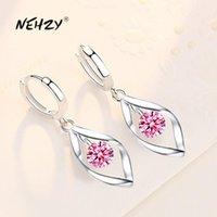 NEHZY 925 sterling silver new women's fashion jewelry earrings pink blue white crystal zircon long tassel retro hollow earrings