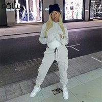 FQLWL Streetwear 2 Two Piece Set Women Tracksuit Female Autumn Solid Hoodies Top and Pants Joggers Women Matching Sets Outfits X0923
