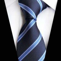 الزرقاء الجديدة مخطط العنق نمط رجل الأعمال الحرير الرقبة التعادل كلاسيك للرجال في الشريط جاكار نسج حفل زفاف رجل العلاقات البحرية