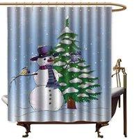 Natal Extra larga cortina de chuveiro do boneco de neve no inverno com visco Presente Top Hat e árvore lenço e Tecido Pássaro Duche