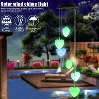 Mobil Işık Beyaz Kalp Solar Değişen ABD Stok Güneş Rüzgar Chime Renk Patio Bahçe için su geçirmez Açık Dekor Rüzgar Bell Işık Powered