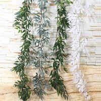 30PCS الاصطناعي الصفصاف ليف فاينز أبيض / شجرة الزيتون الخضراء الجذعية فروع شجرة الصفصاف لحفل زفاف الديكور