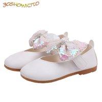Atlético al aire libre jgshowkito 2021 primavera otoño moda zapatos para niños para niños pequeños niñas princesa niños planos lentejuelas arco-nudo