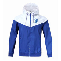 2020 FC Schalke 04 Hoodie da camisola Men Jacket Brasão Com Logo Autumn Sports Zipper Windcheater Designer Mens Clothe manga comprida