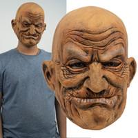 Старик Латекс маска Маски Лысого морщинистых взрослых Хеллоуин Face, Маскарад Prop Крышка головки Horror Movie Косплей Силикон Party Mask