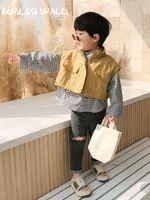 Swag de niños sin mangas bolsillo grande de color caqui chalecos de la manera de la chaqueta + camisa de tela escocesa de ropa Juegos para niños 2020 otoño de la calle Trajes