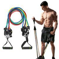 11 pçs / set fitness resistência banda tubos yoga pull corda esporte fitness goma exercício exercício ginásio esporte borracha expansor FY7007