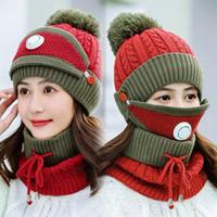 Inverno Máscaras quentes Hat Scarf Set espessura além de Cashmere Knit Caps lãs Esfera cobrir ouvido Collar Chapéus com a respiração Máscaras válvula nova GGA3729