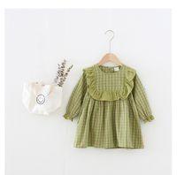 طفلة ملابس اللباس الربيع الخريف كم طويل جولة طوق منقوشة الكشكشة اللباس أنيقة فتاة الملابس اللباس