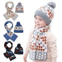 5 colores bebé niños invierno sombrero bebé hecha punto sombrero y bufanda amor amor corazón patrón de navidad diseño bebé invierno protección oído gorras de punto