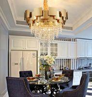 Les lampes d'éclairage de lustre conduit de luxe moderne salon suspendus cristal d'or lustres lampes LED pendentif décoration de la maison